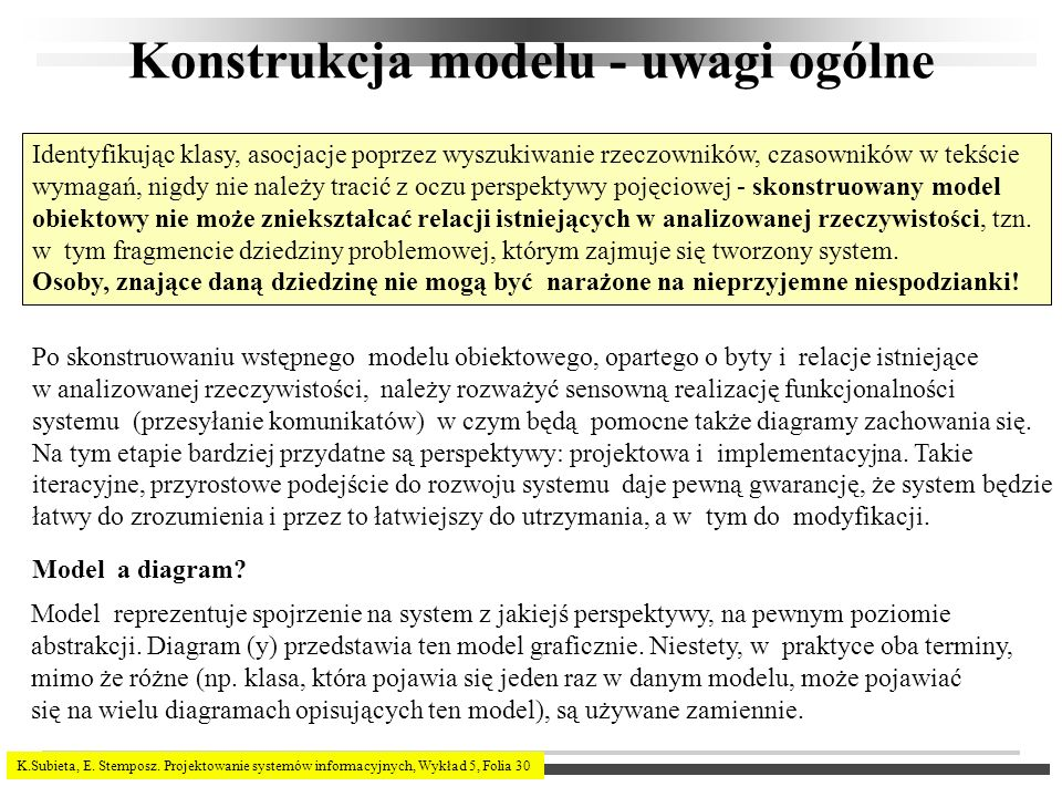 Konstrukcja modelu - uwagi ogólne