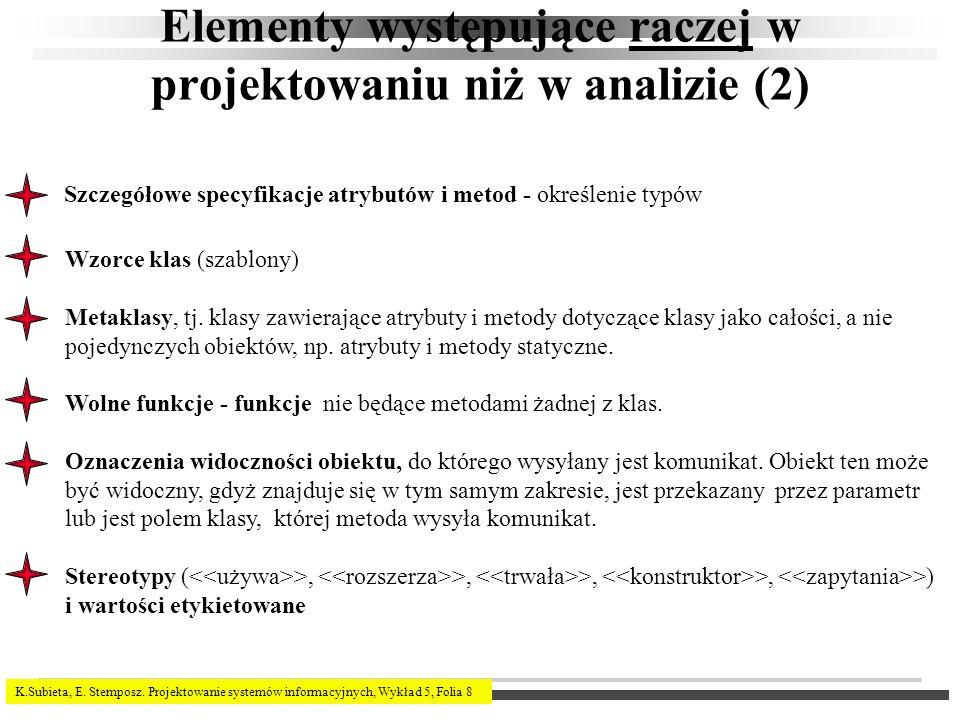 Elementy występujące raczej w projektowaniu niż w analizie (2)