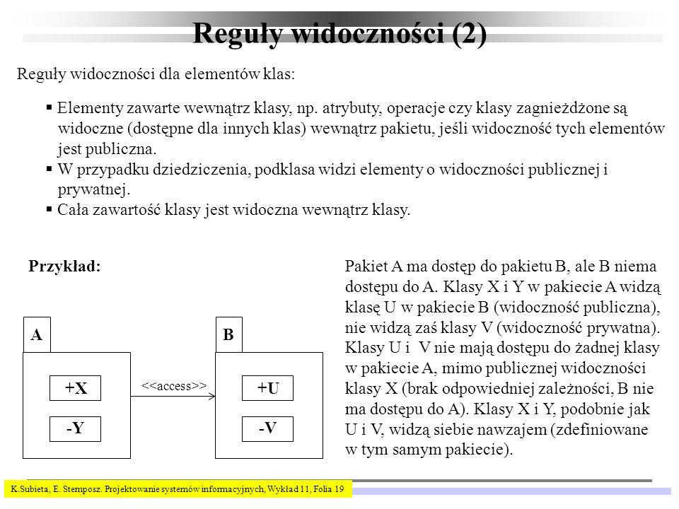 Reguły widoczności (2) Reguły widoczności dla elementów klas: