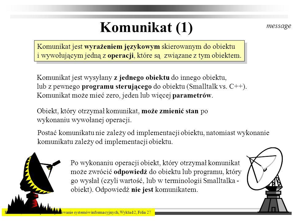 Komunikat (1) message. Komunikat jest wyrażeniem językowym skierowanym do obiektu.