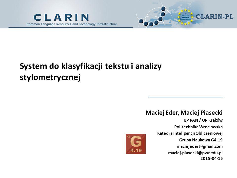 System do klasyfikacji tekstu i analizy stylometrycznej