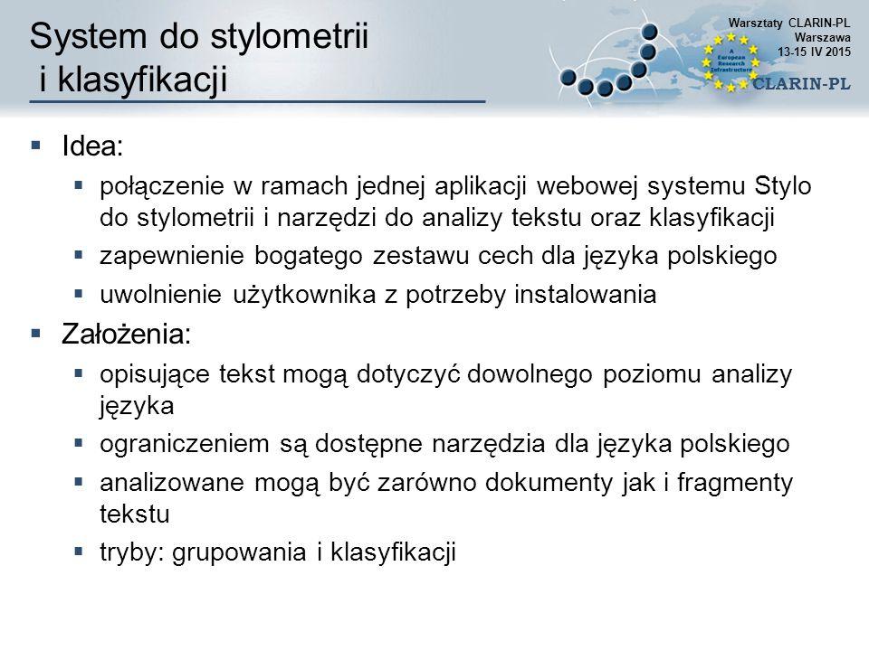 System do stylometrii i klasyfikacji
