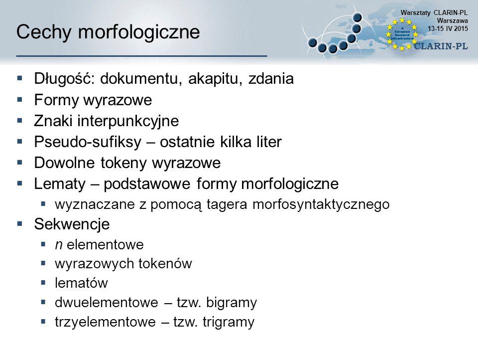 Cechy morfologiczne Długość: dokumentu, akapitu, zdania Formy wyrazowe
