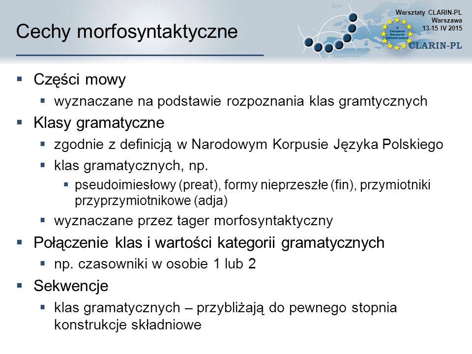 Cechy morfosyntaktyczne