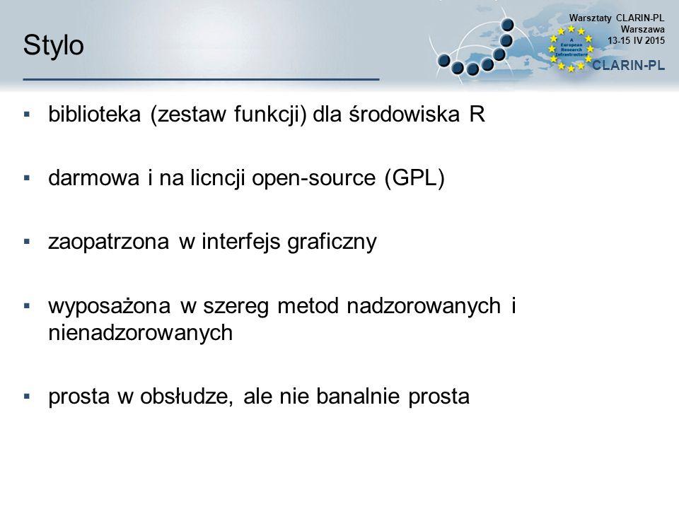 Stylo biblioteka (zestaw funkcji) dla środowiska R