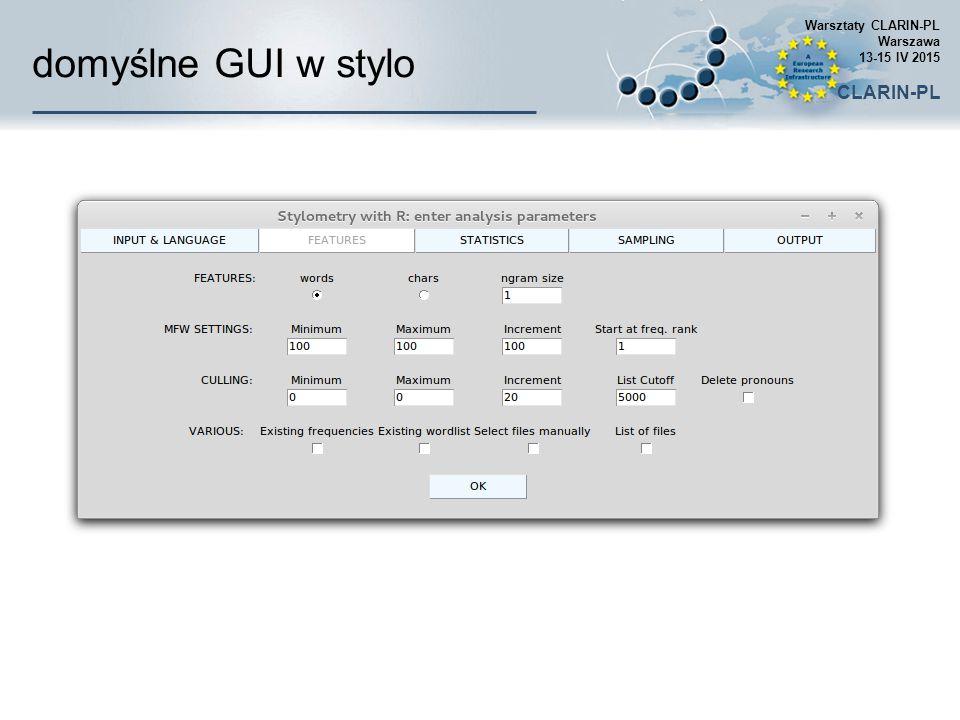 domyślne GUI w stylo CLARIN-PL