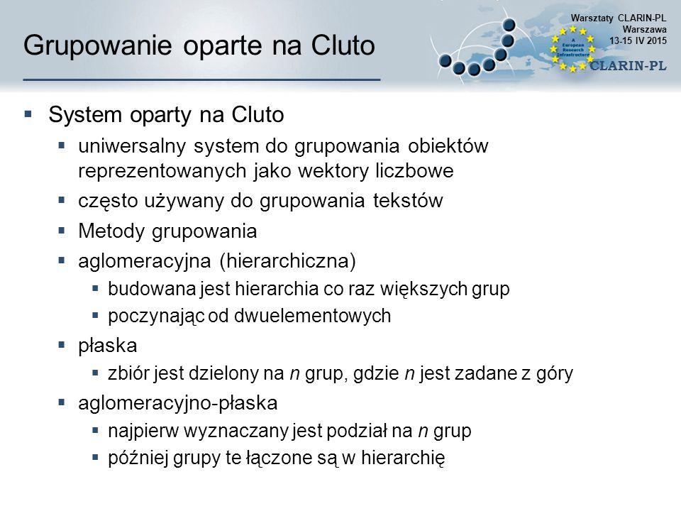 Grupowanie oparte na Cluto