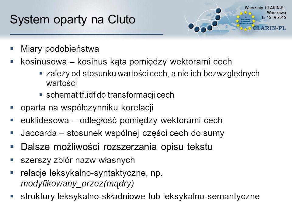 System oparty na Cluto Dalsze możliwości rozszerzania opisu tekstu