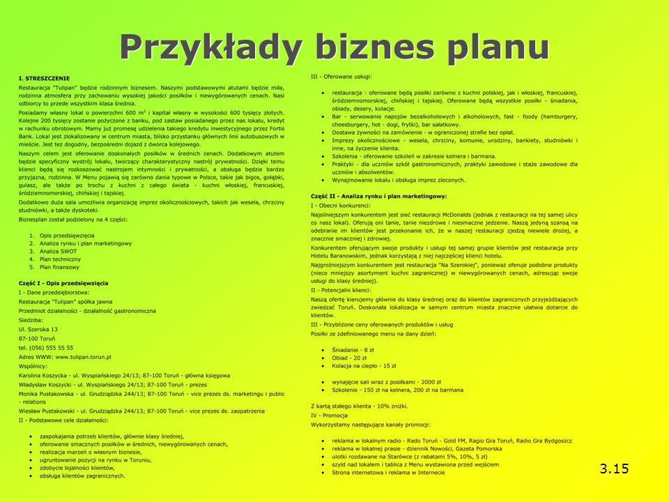 Przykłady biznes planu