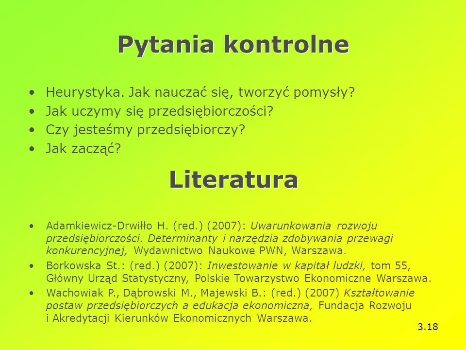 Pytania kontrolne Literatura