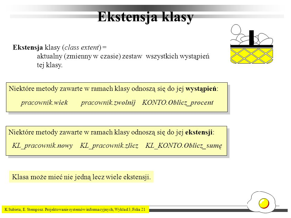 Ekstensja klasy Ekstensja klasy (class extent) =