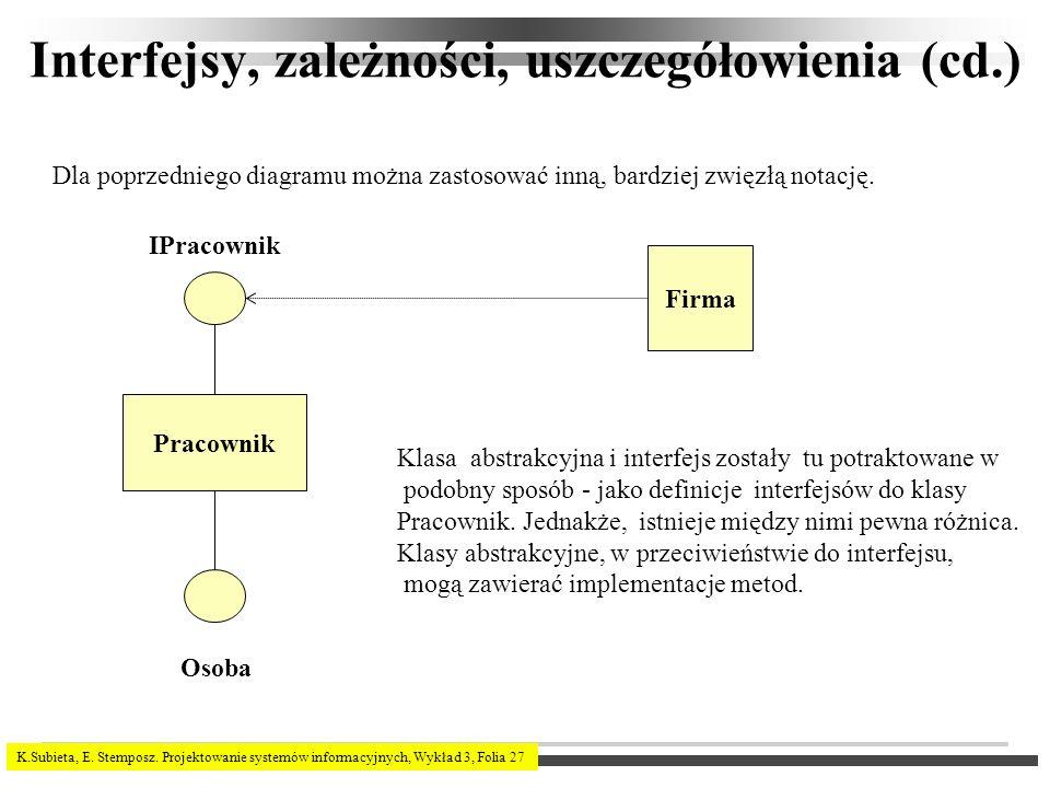 Interfejsy, zależności, uszczegółowienia (cd.)