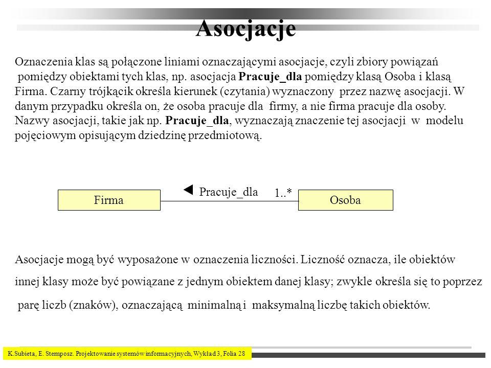 Asocjacje Oznaczenia klas są połączone liniami oznaczającymi asocjacje, czyli zbiory powiązań.