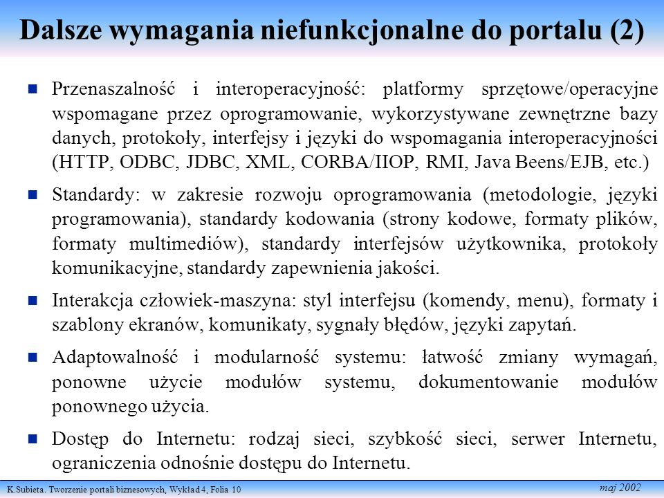 Dalsze wymagania niefunkcjonalne do portalu (2)