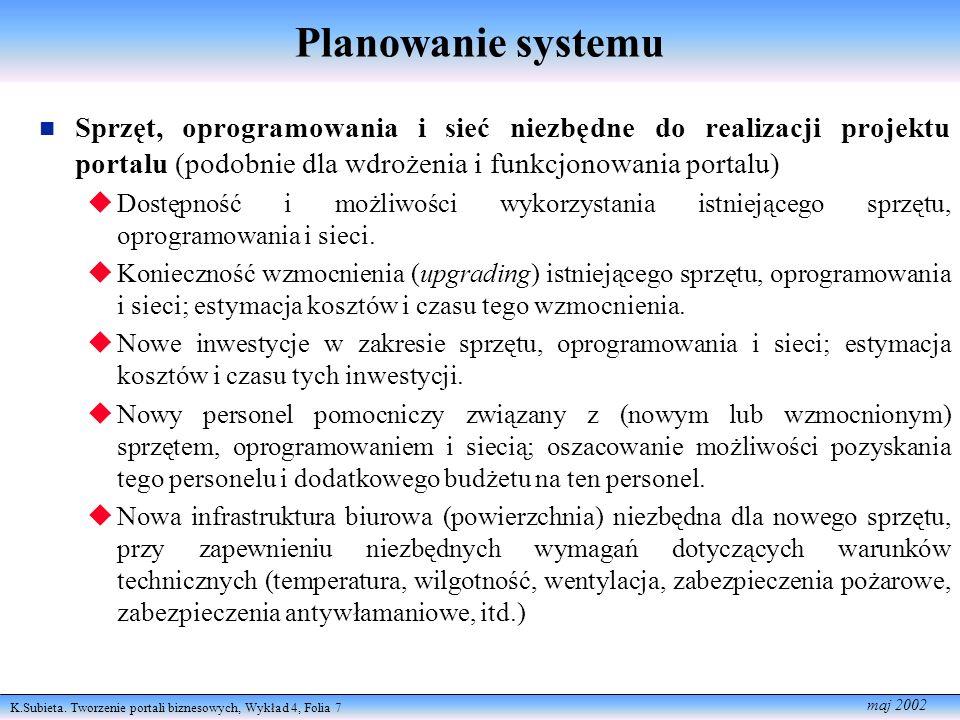 Planowanie systemu Sprzęt, oprogramowania i sieć niezbędne do realizacji projektu portalu (podobnie dla wdrożenia i funkcjonowania portalu)