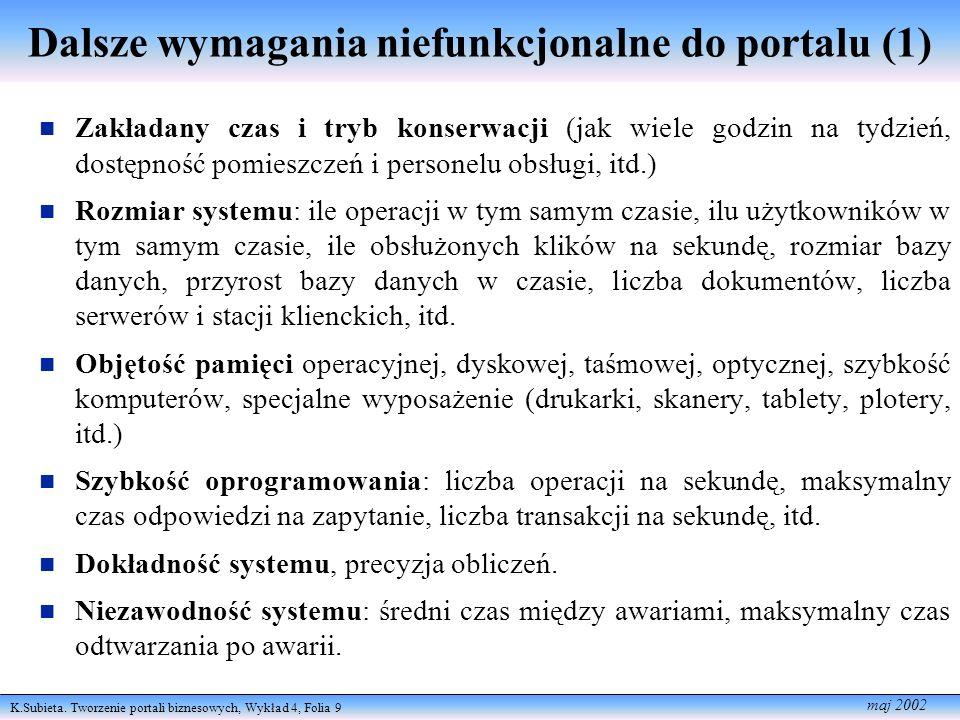 Dalsze wymagania niefunkcjonalne do portalu (1)