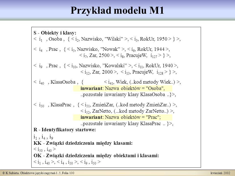 Przykład modelu M1 i1 , i4 , i9 S - Obiekty i klasy: