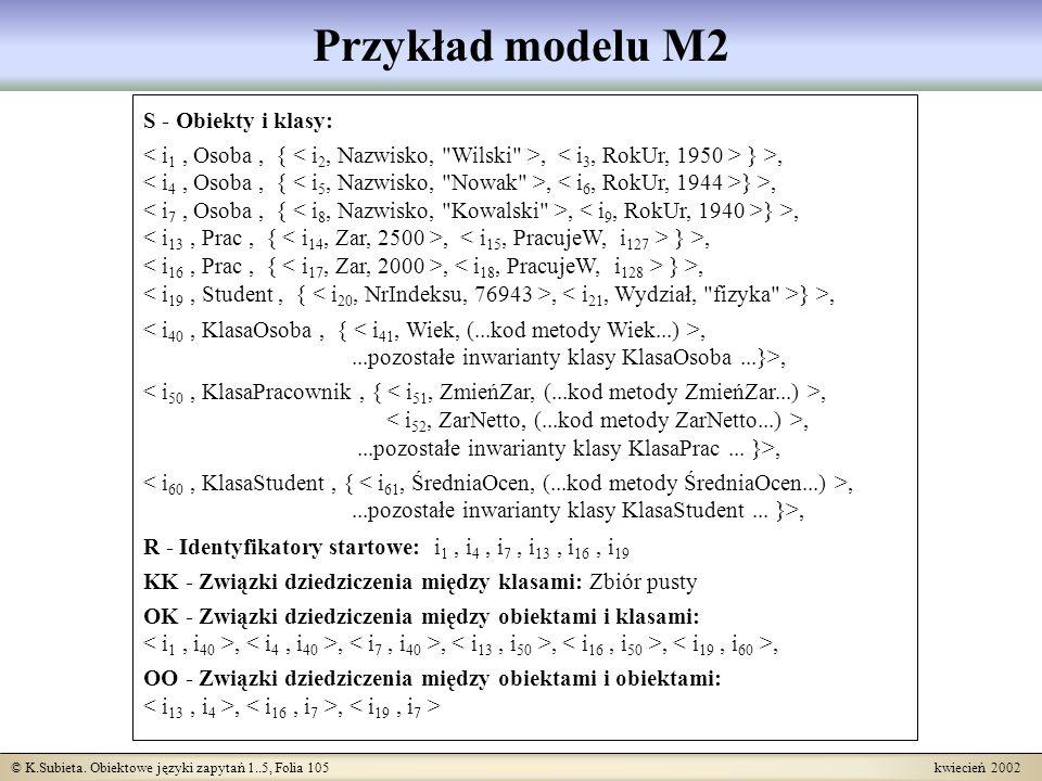 Przykład modelu M2 S - Obiekty i klasy: