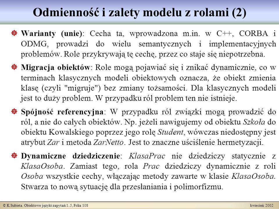 Odmienność i zalety modelu z rolami (2)