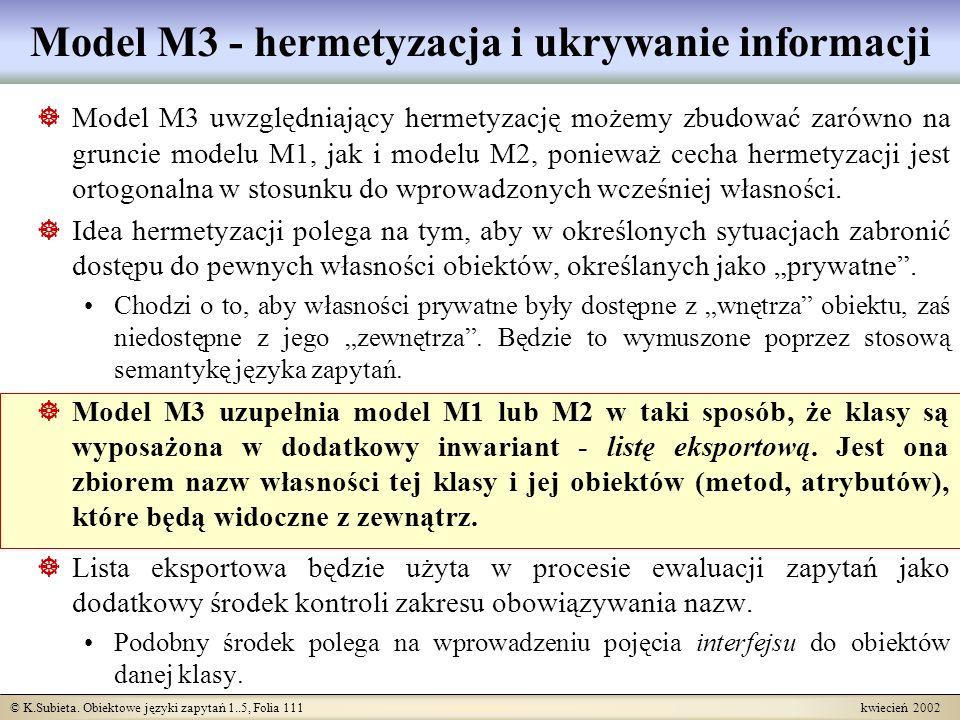 Model M3 - hermetyzacja i ukrywanie informacji