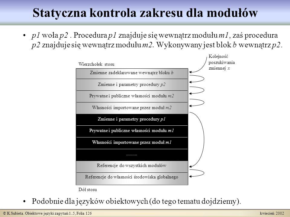 Statyczna kontrola zakresu dla modułów
