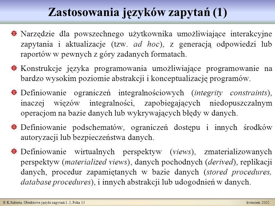 Zastosowania języków zapytań (1)