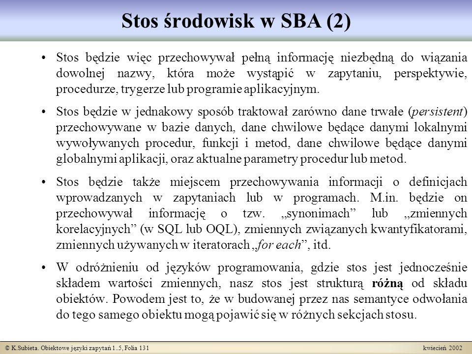 Stos środowisk w SBA (2)