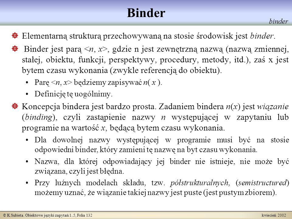 Binder binder. Elementarną strukturą przechowywaną na stosie środowisk jest binder.
