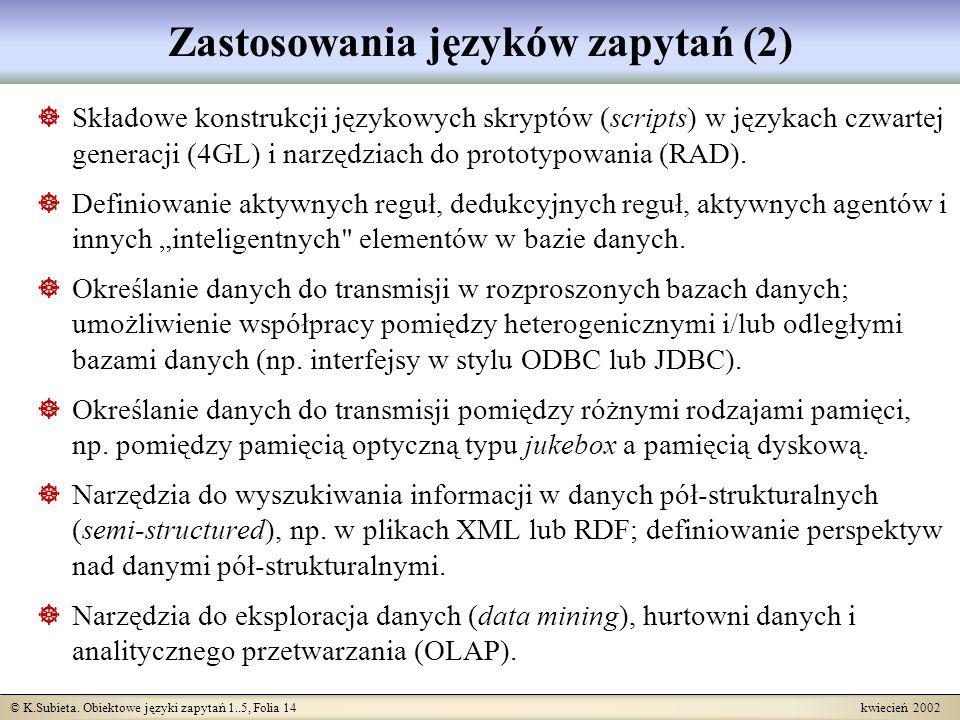 Zastosowania języków zapytań (2)