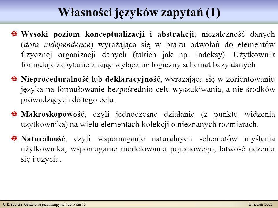 Własności języków zapytań (1)