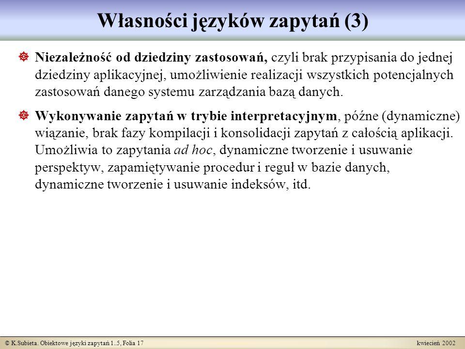 Własności języków zapytań (3)