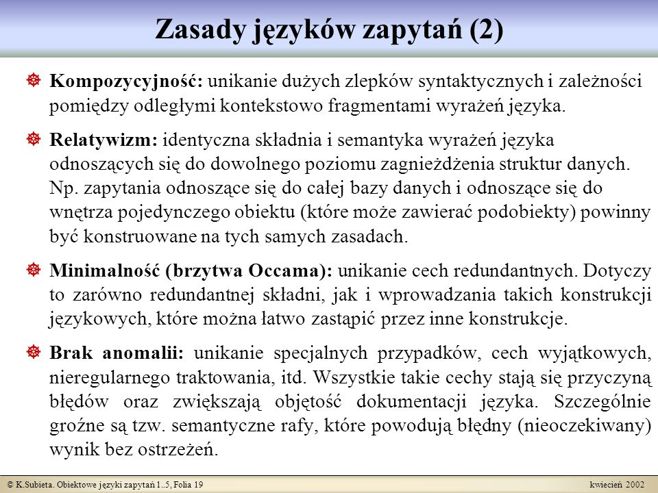Zasady języków zapytań (2)
