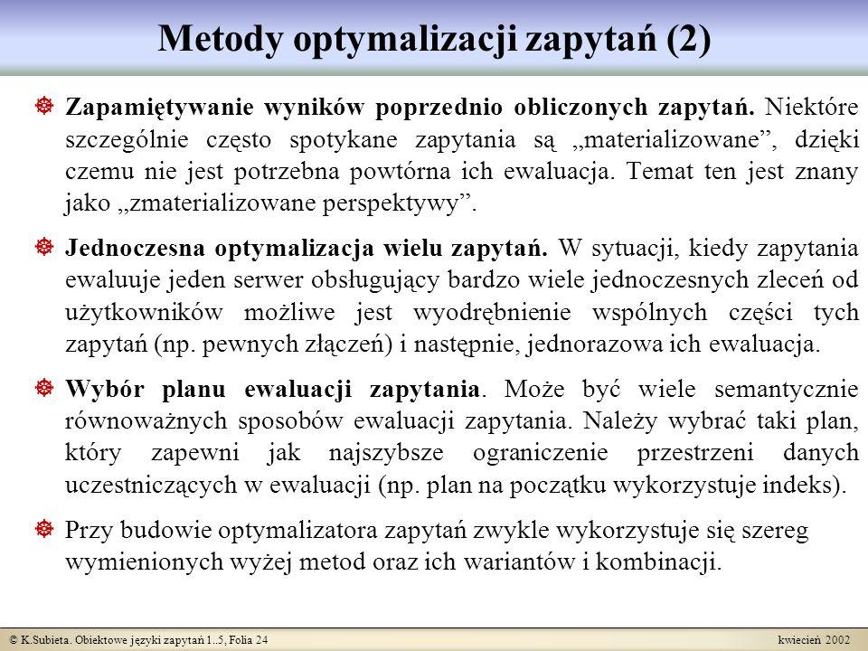 Metody optymalizacji zapytań (2)