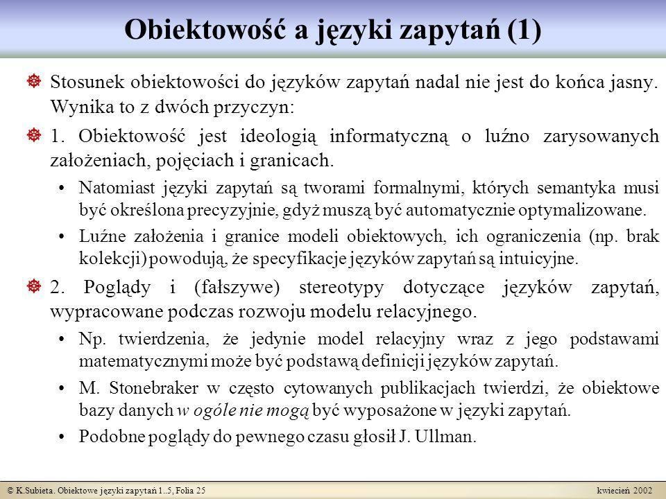 Obiektowość a języki zapytań (1)