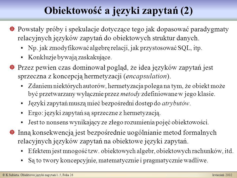 Obiektowość a języki zapytań (2)