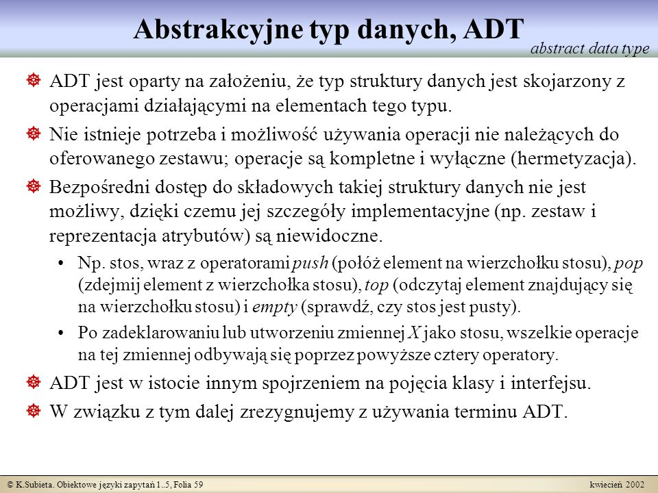 Abstrakcyjne typ danych, ADT