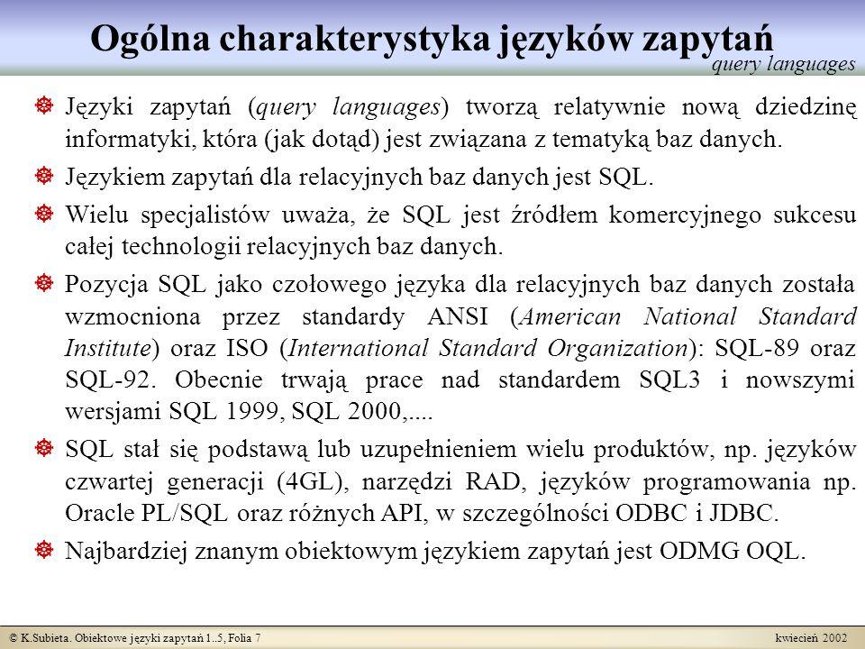 Ogólna charakterystyka języków zapytań