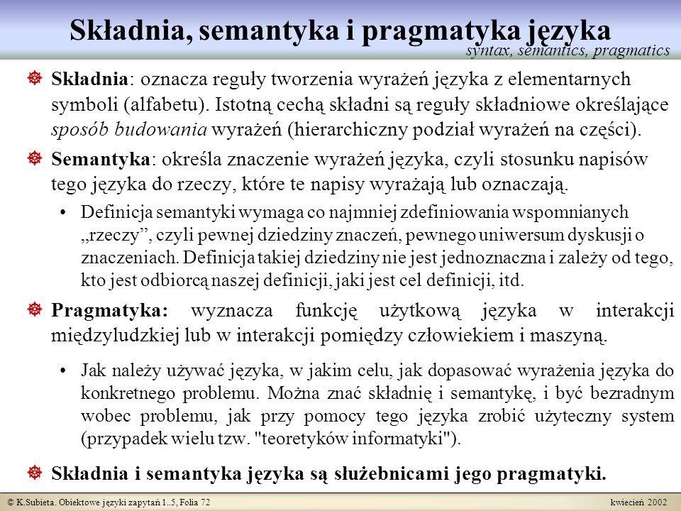 Składnia, semantyka i pragmatyka języka