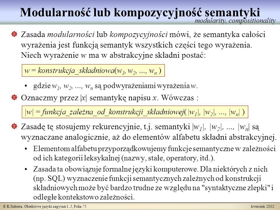 Modularność lub kompozycyjność semantyki