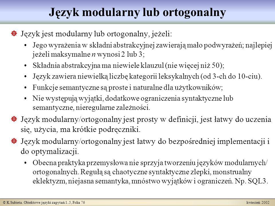 Język modularny lub ortogonalny