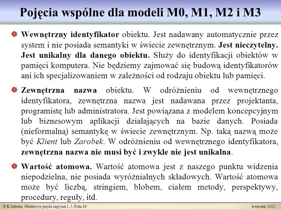 Pojęcia wspólne dla modeli M0, M1, M2 i M3