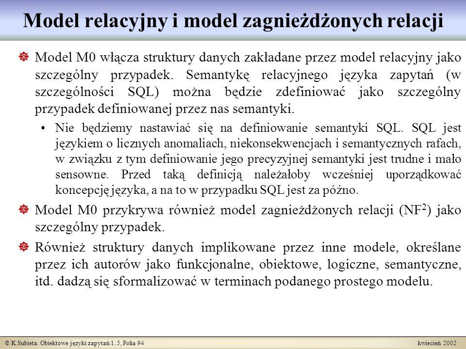 Model relacyjny i model zagnieżdżonych relacji