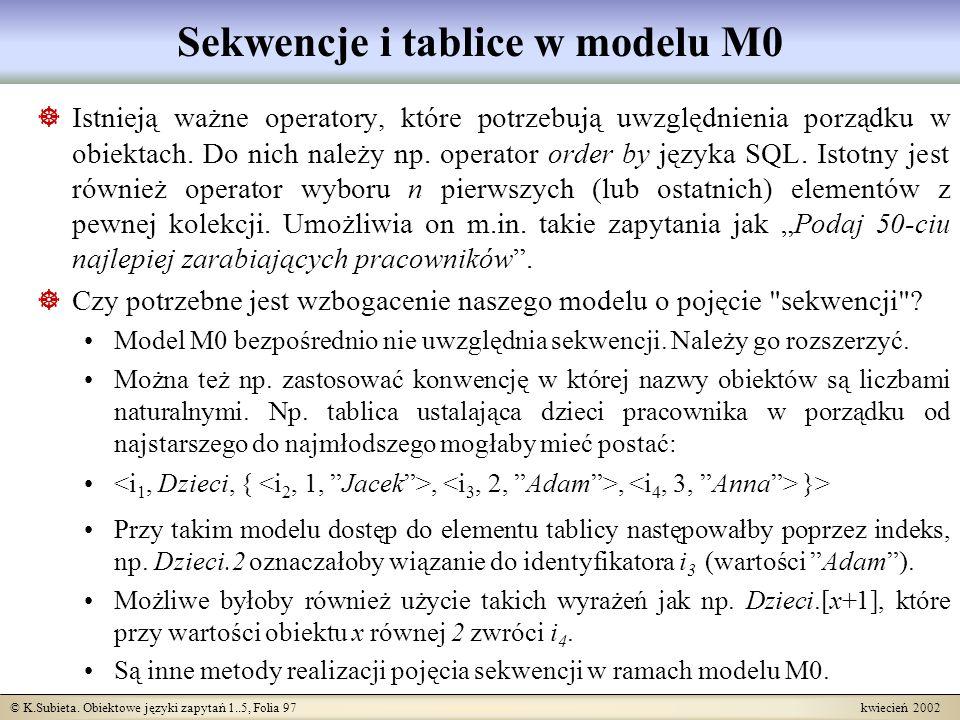 Sekwencje i tablice w modelu M0