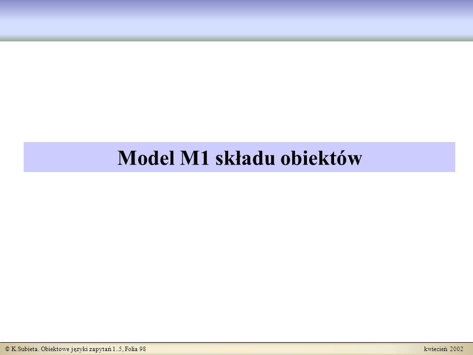 Model M1 składu obiektów