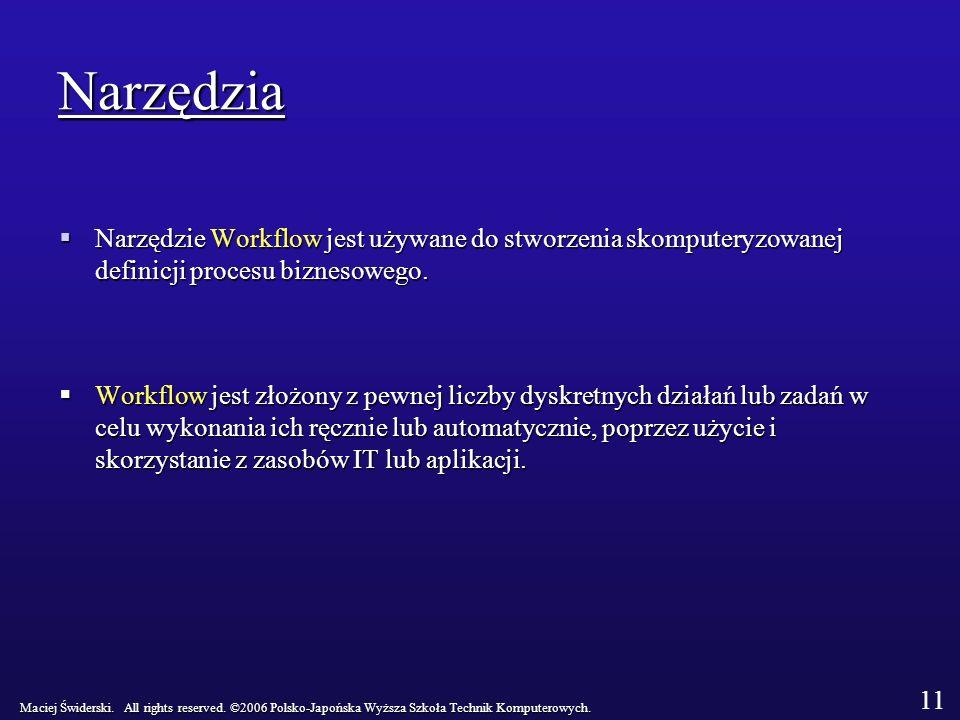 Narzędzia Narzędzie Workflow jest używane do stworzenia skomputeryzowanej definicji procesu biznesowego.