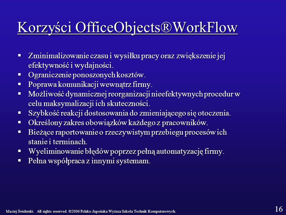 Korzyści OfficeObjects®WorkFlow