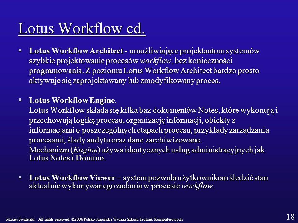 Lotus Workflow cd. Lotus Workflow Architect - umożliwiające projektantom systemów. szybkie projektowanie procesów workflow, bez konieczności.