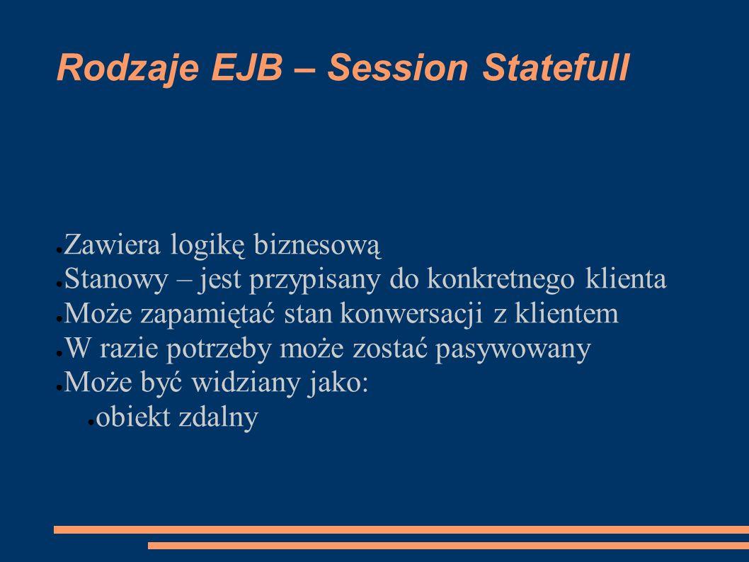 Rodzaje EJB – Session Statefull