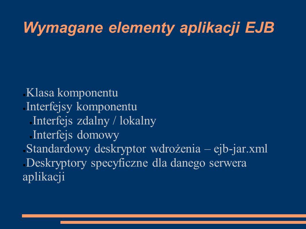 Wymagane elementy aplikacji EJB