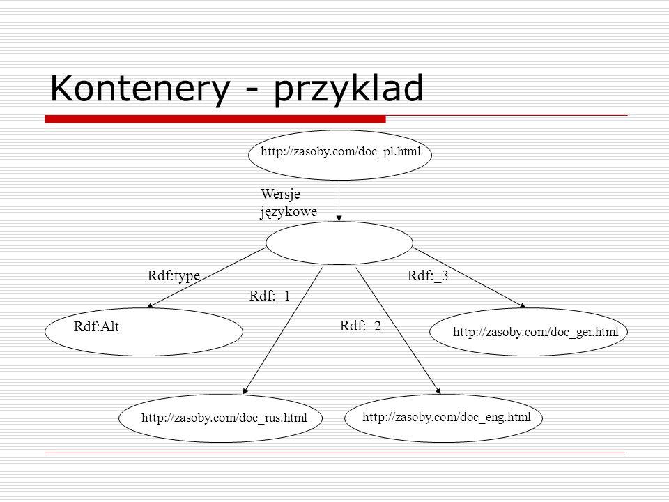Kontenery - przyklad Wersje językowe Rdf:Alt Rdf:type Rdf:_1 Rdf:_2